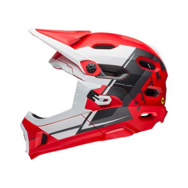 Super DH Mips Fahrradhelm - Rot/Schwarz/Weiß