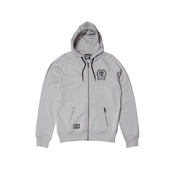 Badge Zip Hoody - grau