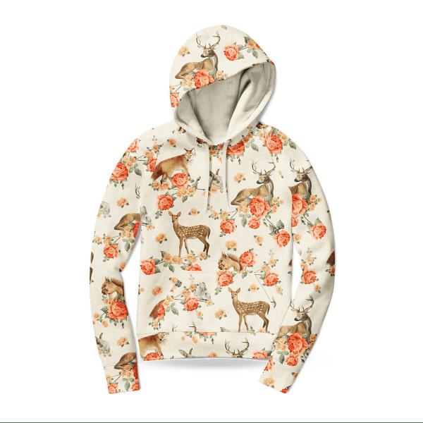 Damen Hoodie Pullover - Forest Animals