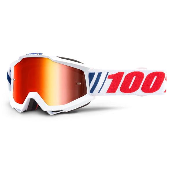 Accuri Youth Goggles Anti Fog Mirror Lens - Weiß/Rot