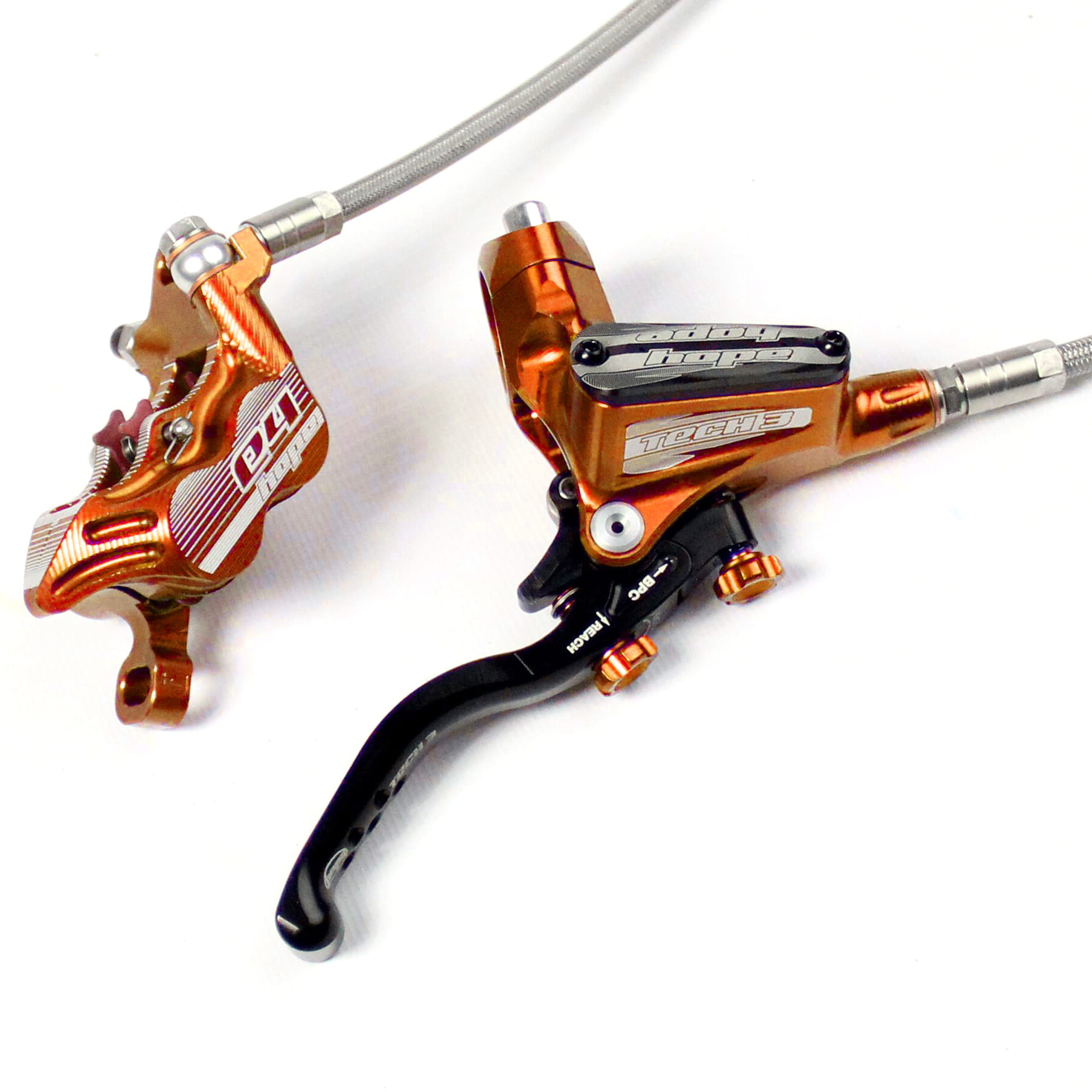 Brand New Hope Tech 3 V4 Orange Right Rear with Braided Hose Brake