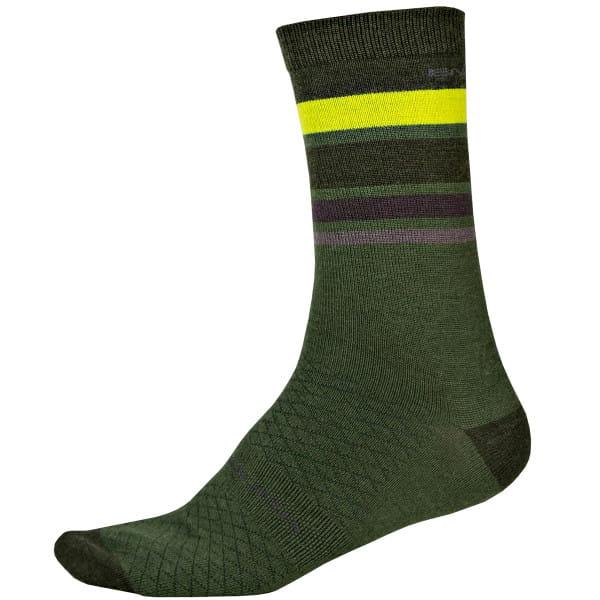 BaaBaa Merino Streifen Socken - Forest Green
