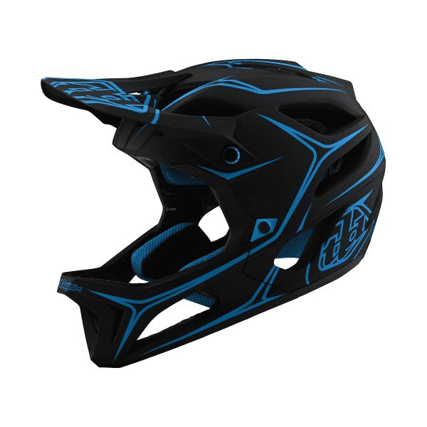 Stage Helmet (MIPS) Pinstripes Fullface-Helm - Schwarz/Blau