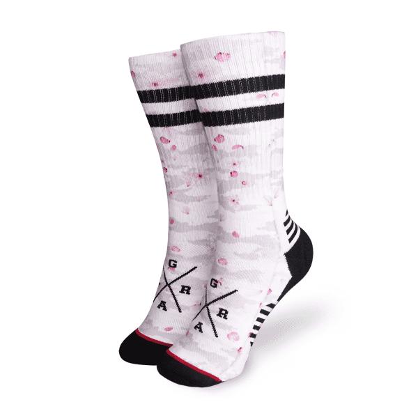 """Socken """"Sakura"""" - Grau/Pink"""